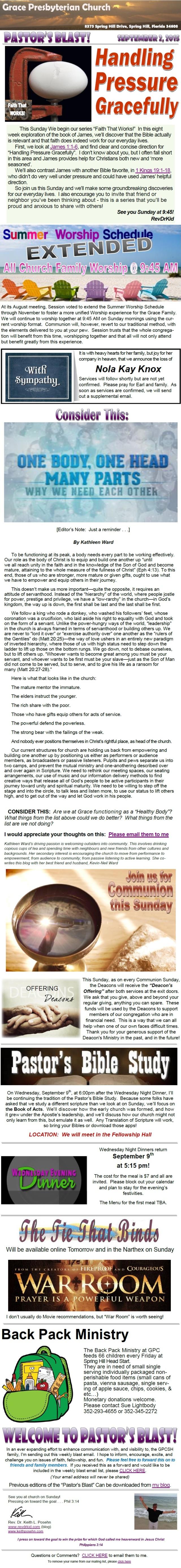 9-2-15 - Pastor's Blast - Handling Pressure Gracefully